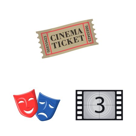 Vector illustration of cinema and theater icon. Collection of cinema and entertainment vector icon for stock.