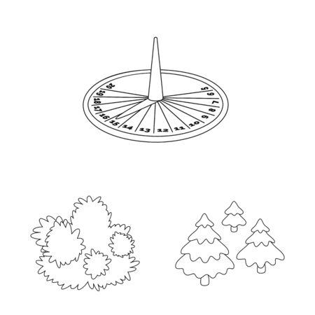 Vector illustration of landscape and nature sign. Set of landscape and city stock symbol for web.