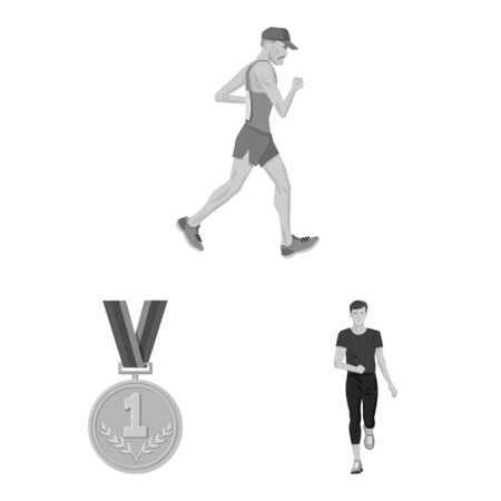 Vector design of success and marathon sign. Collection of success and winner vector icon for stock.