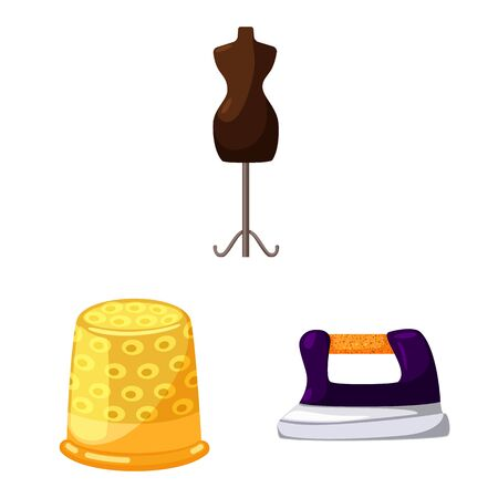 Vector illustration of atelier and sewing icon. Set of atelier and tailoring vector icon for stock.