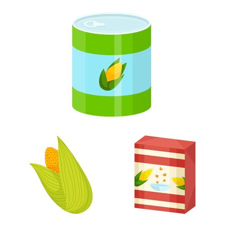 Vector illustration of maize and food symbol. Set of maize and crop vector icon for stock. Иллюстрация
