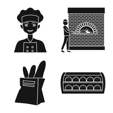 Vector illustration of bakery and natural icon. Collection of bakery and production stock vector illustration.