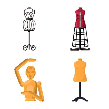 Isolated object of mannequin and fashion icon. Collection of mannequin and form stock symbol for web.