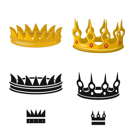 Vector design of medieval and nobility icon. Set of medieval and monarchy stock symbol for web. Ilustración de vector
