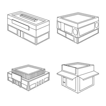 Vector design of business and supermarket logo. Set of business and showcase vector icon for stock. Illustration