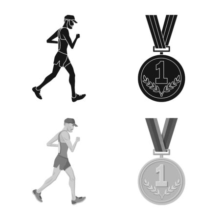 Vector design of sport and winner symbol. Collection of sport and fitness stock vector illustration.