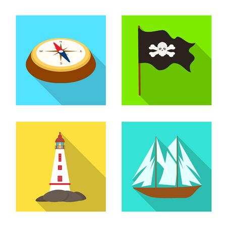 Vector design of travel and attributes logo. Set of travel and seafaring stock vector illustration.