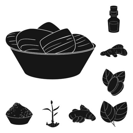 Vector design of nutrition and asian symbol. Set of nutrition and food stock vector illustration.