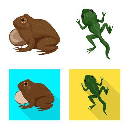 Vector illustration of wildlife and bog symbol. Collection of wildlife and reptile vector icon for stock. Stock Illustratie