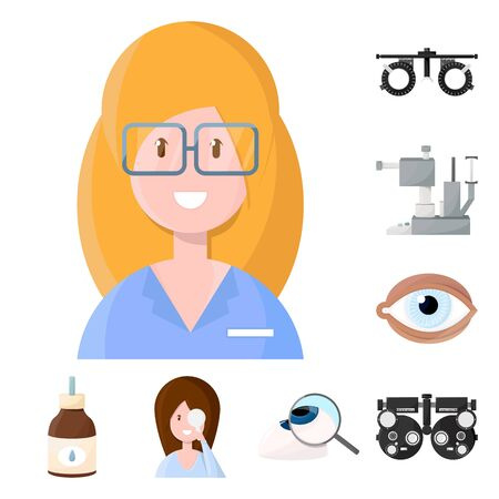 Vector design of vision and clinic icon. Collection of vision and ophthalmology stock vector illustration.
