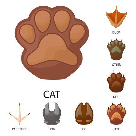 Vector illustration of animal and print symbol. Collection of animal and footprint vector icon for stock. Stock Illustratie