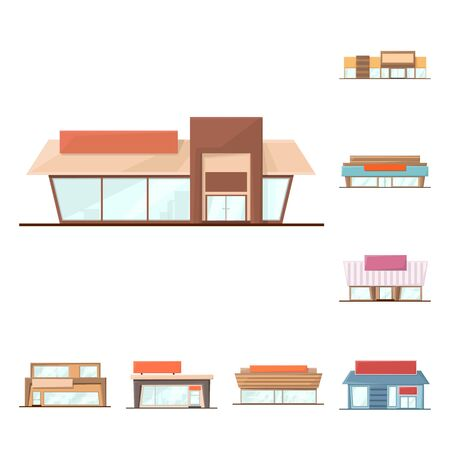 Isolated object of building and supermarket icon. Collection of building and market vector icon for stock.