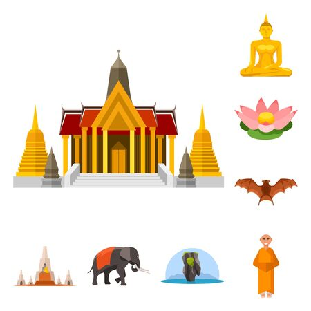 Vector design of thailand and travel sign. Set of thailand and culture stock symbol for web. Illustration
