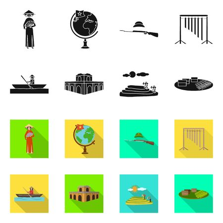 Isolated object of travel and country symbol. Collection of travel and asia stock symbol for web. Stock Illustratie