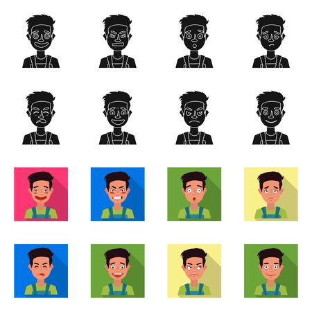 Isolated object of face and boy sign. Collection of face and expression stock vector illustration. Illustration