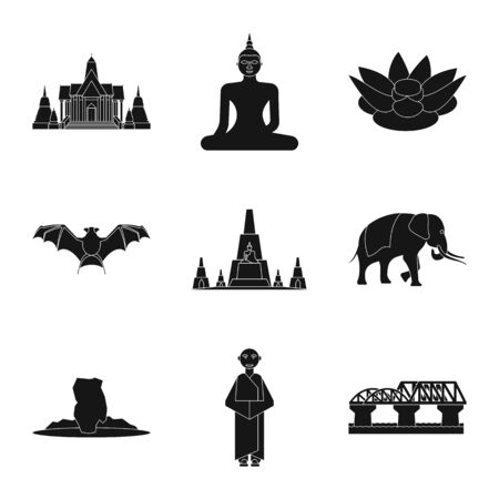 Vector illustration of country and national symbol. Set of country and travel vector icon for stock. Illustration