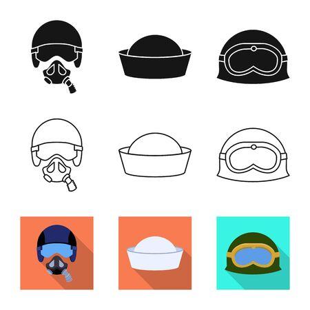 Vector illustration of headdress and clothing sign. Collection of headdress and armed stock vector illustration.