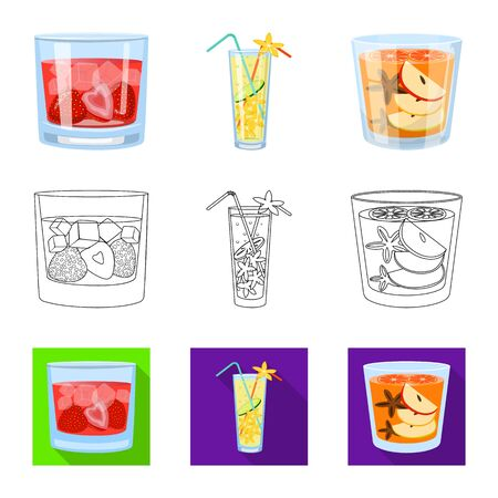 Vector design of liquor and restaurant sign. Set of liquor and ingredient stock symbol for web.
