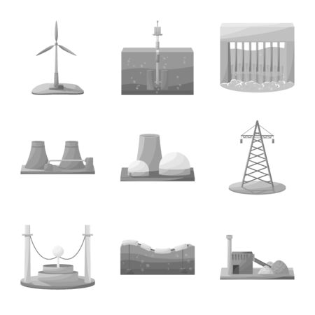 Isolated object of industrial and ecological sign. Collection of industrial and environment stock vector illustration.