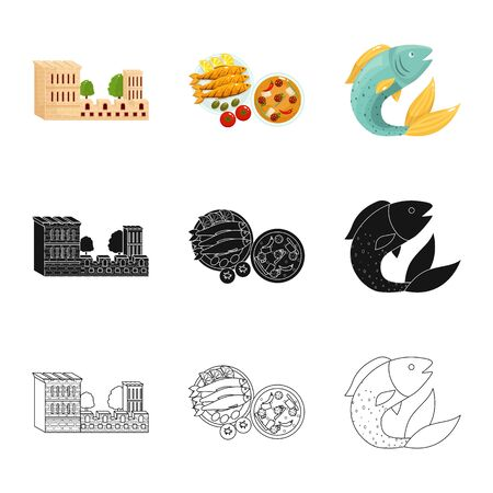 Isolated object of and historic sign. Set of and country stock vector illustration. Ilustrace