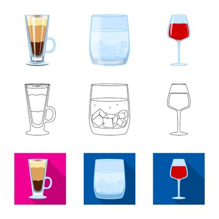 Isolated object of liquor and restaurant logo. Set of liquor and ingredient stock symbol for web. Çizim