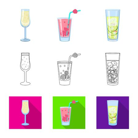 Vector illustration of liquor and restaurant sign. Collection of liquor and ingredient stock symbol for web.