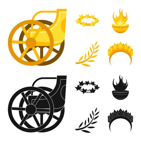 Vector design of deity and antique symbol. Collection of deity and myths stock symbol for web.