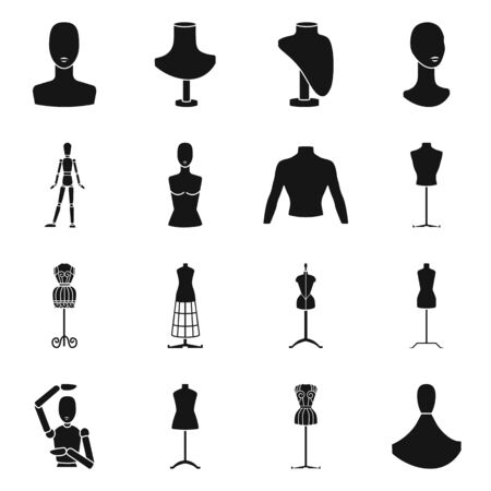 Vector design of mannequin and fashion symbol. Collection of mannequin and equipment vector icon for stock.