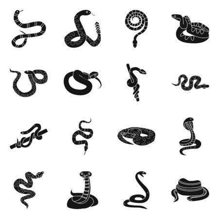Vektorillustration der Schlange und der gruseligen Ikone. Satz von Schlangen- und Giftvektorsymbolen für Aktien.
