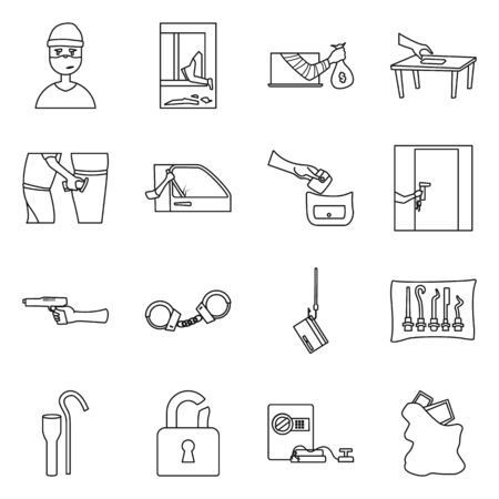 Vector design of thug and robbery symbol. Set of thug and fraud vector icon for stock. Çizim