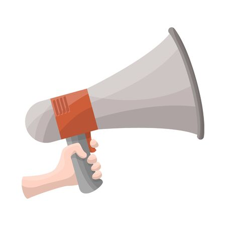 Vector illustration of megaphone and speaker sign. Web element of megaphone and loudspeaker vector icon for stock.