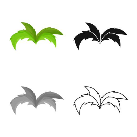 Vector illustration of shrubs and green sign. Set of shrubs and nature stock symbol for web. 向量圖像