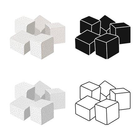 Vector design of cube and cane logo. Graphic of cube and sugar stock symbol for web. Ilustração
