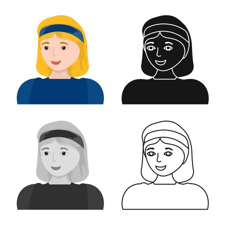 Isolated object of girl and blonde sign. Collection of girl and happy vector icon for stock.