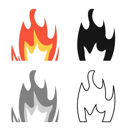 Vector illustration of bonfire and light icon. Collection of bonfire and yellow stock symbol for web.