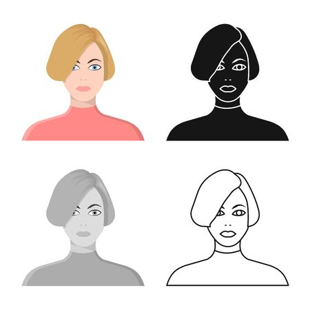 Vector design of girl and hairdo icon. Collection of girl and woman stock vector illustration. 일러스트