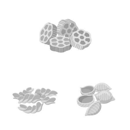 Vector illustration of pasta and carbohydrate icon. Set of pasta and macaroni stock vector illustration.
