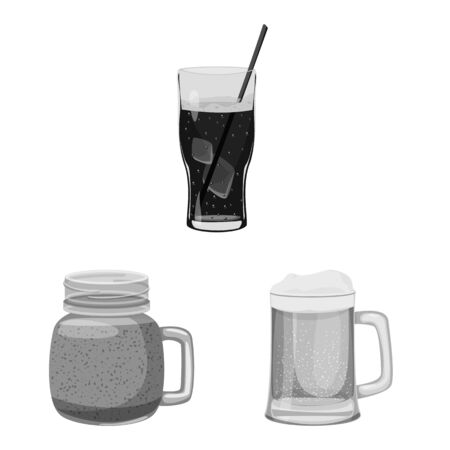 Isolated object of drink and bar icon. Collection of drink and party vector icon for stock.