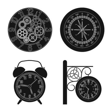 Vektorillustration des Uhr- und Zeitlogos. Satz Uhr- und Kreisvektorikone für Vorrat. Logo