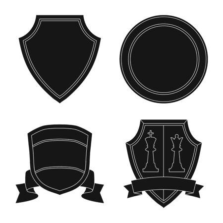 Vector design of emblem and badge sign. Set of emblem and sticker vector icon for stock. Stock Illustratie