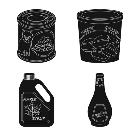 Vector design of can and food symbol. Set of can and package stock vector illustration. Ilustración de vector
