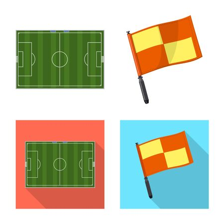 Vector design of soccer and gear logo. Collection of soccer and tournament vector icon for stock.