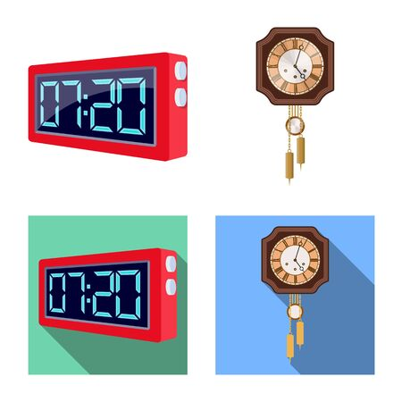 Isolated object of clock and time symbol. Collection of clock and circle vector icon for stock.