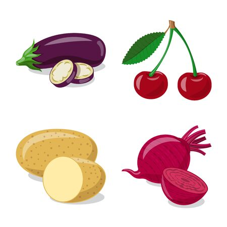 Isolated object of vegetable and fruit icon. Collection of vegetable and vegetarian stock symbol for web. Ilustração