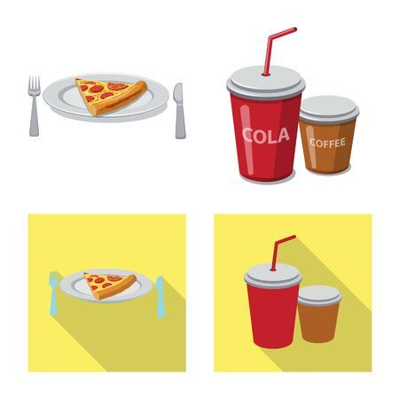 Isolated object of pizza and food logo. Collection of pizza and italy stock vector illustration.
