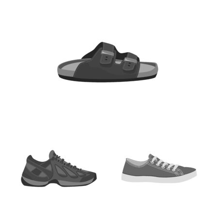 Isolated object of shoe and footwear logo. Set of shoe and foot stock symbol for web.