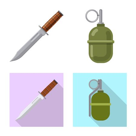 Vector illustration of weapon and gun symbol. Set of weapon and army vector icon for stock. Иллюстрация