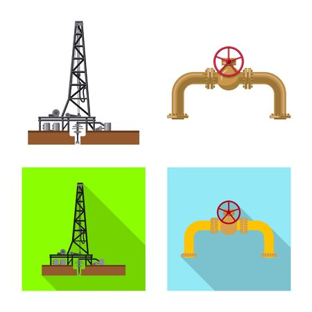 Vector design of oil and gas sign. Collection of oil and petrol stock symbol for web.