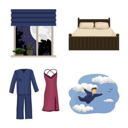 Vector design of dreams and night icon. Collection of dreams and bedroom vector icon for stock.