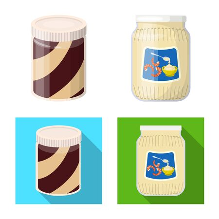 Vector illustration of can and food icon. Set of can and package vector icon for stock. Çizim